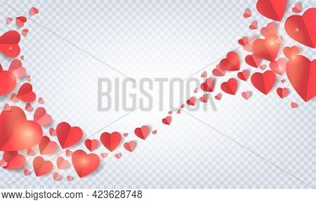 Paper Folded Hearts Background. Papers Heart Set Wallpaper Decoration, Heartshaped Confetti Vector L