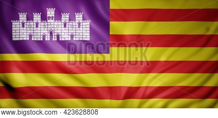 3d Rendering Of A Balearic Islands Spanish Community Flag