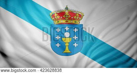 3d Rendering Of A Galicia Spanish Community Flag