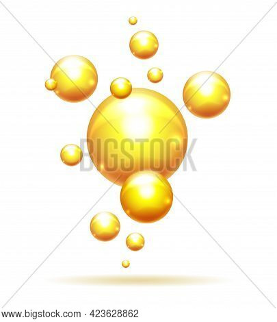 Argan Bubbles. Vitamins Oil Yellow Bubble Pattern, Light Karatin Or Collagen Drops Isolated, Shiny O
