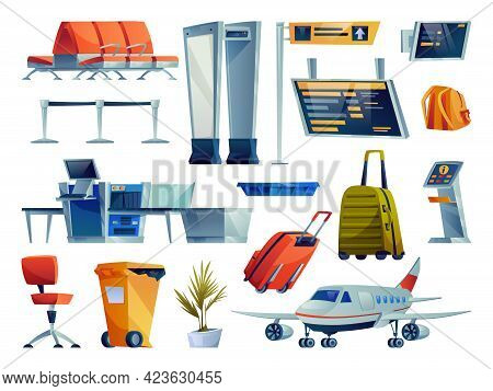 Set Of Airport Cartoon Icons Isolated. Chairs Seats Row, Boarding Pass Gates, Check In Boards And Te
