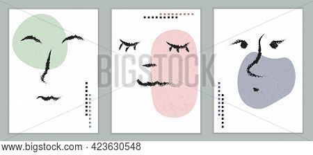 Human Face. Set Of Abstract, Minimalistic Banners. Simple Style, Drawn Line. Facial Features, The Im