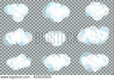 Foam. Soap Bubbles Set. Shampoo, Detergent, Washing Powder. Cleanliness And Hygiene. Set Of White So
