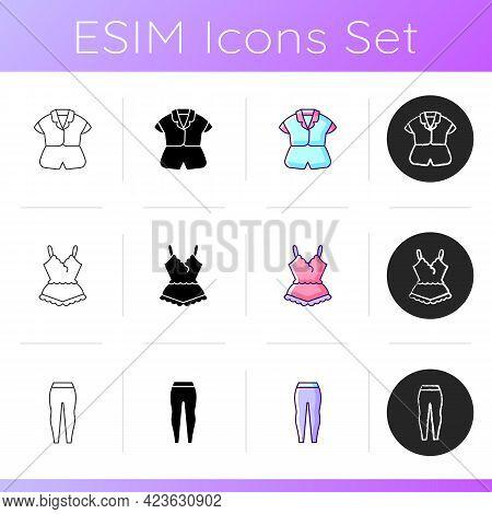 Comfortable Sleepwear Icons Set. Silk Top And Shorts. Lace Pyjamas. Comfy Nightwear. Leggings For Wo