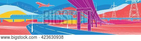 Сolorful Bright Landscape. Infrastructure And Transport Illustration. Car Overpass. Train Rides. Air