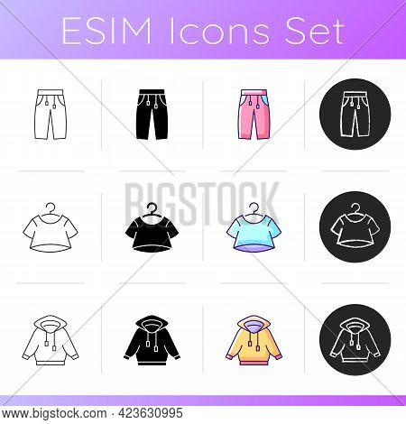 Comfry Loungewear Icons Set. Sporty Sweatpants. Crop Top. Hoodied Jacket. Comfortable Homewear. Unis