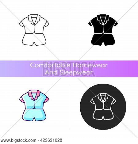 Silk Top And Shorts Icon. Trendy Sleepwear For Women. Elegant Nightwear For Ladies. Comfortable Home