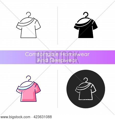 One Shoulder T Shirt Icon. Trendy Comfy Outfit For Women. Female Garment For Lounging. Comfortable H