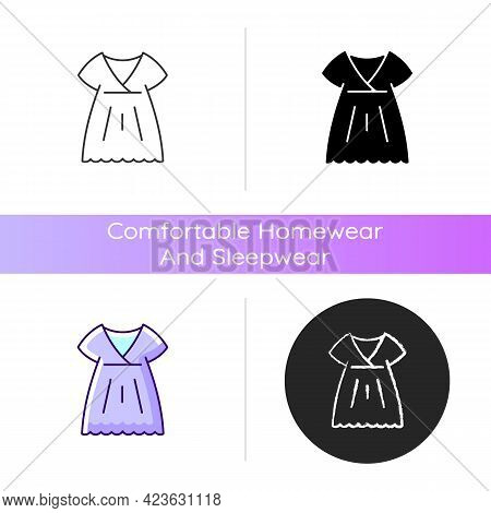 Nightgown Icon. Trendy Long Dress. Luxury Women Apparel. Outfit For Girls. Silk Wear. Comfortable Ho