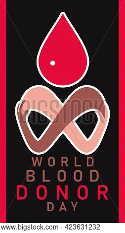 World Donor Day Background With Blood Drop, Multiethnic Hands. World Blood Donor Day Concept Backgro
