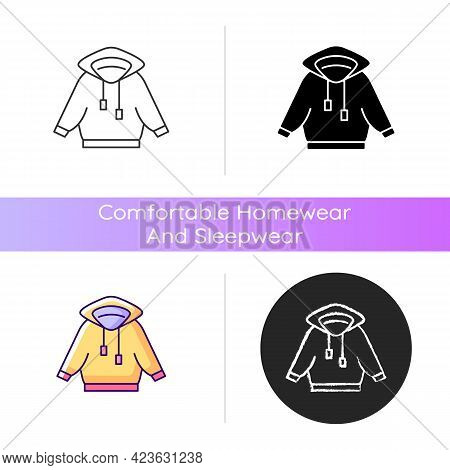 Home Outfit With Hoodie Icon. Hooded Unisex Jacket. Sporty Outfit. Unisex Sportswear. Comfortable Ho
