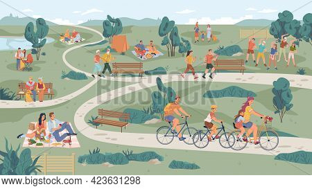 People In Park Leisure Outdoor Activity, Family Picnic And Summer Rest. People Sitting On Bench, Pla