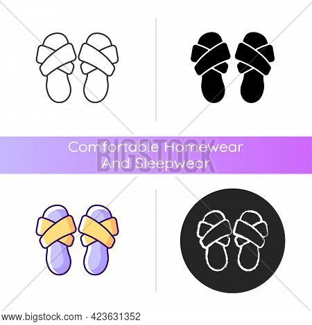 Cross Band Slippers Icon. Footwear For Lounging At Home. Comfortable Shoes. Domestic Flip Flops. Hom