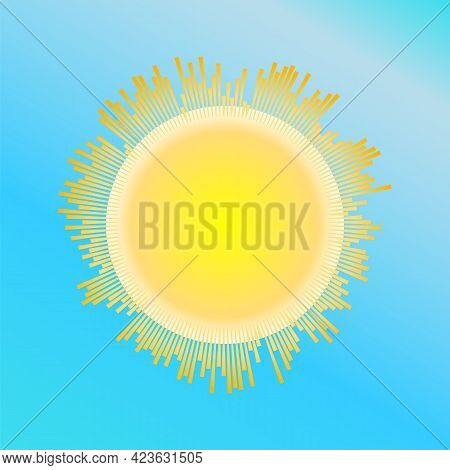 Bright Sun With Sun Rays Wave On Blue Background. Beautiful Equalizer Sunbeams Banner. Jpeg Sunny Su
