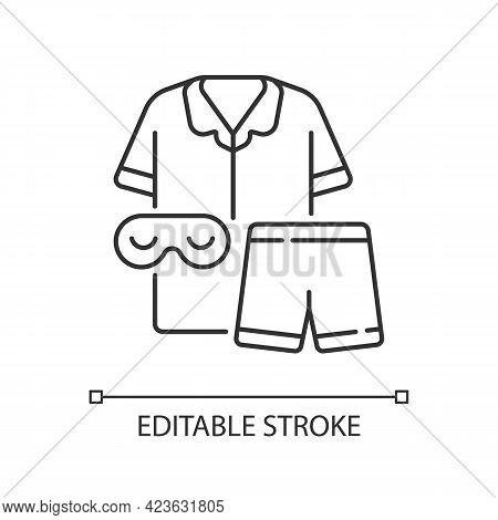 Pajamas Linear Icon. Unisex Pyjamas And Eyewear. Pants, Shirt For Sleep. Clothing For Nighttime. Thi