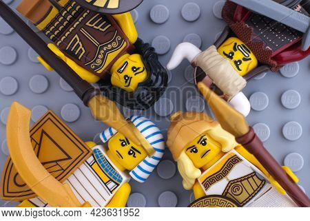 Tambov, Russian Federation - May 26, 2021 Four Lego Warrior Minifigures - Egyptian Warrior, Warrior