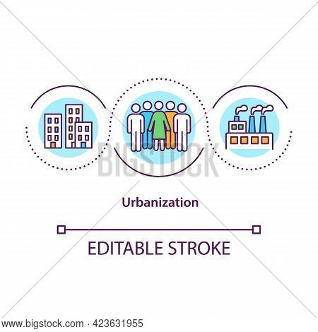 Urbanization Concept Icon. Population Migration From Rural To Urban Areas. Society Improvement Abstr