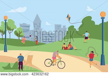 Kids Doing Different Outdoor Activities In Park. People Drawing, Riding Bike, Playing Volleyball, Ju