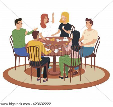 Friends Having Rest At Home. People Spend Time In Different Ways With Board Games On Table. Cartoon