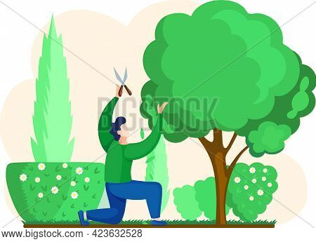 Man Shears Plants With Scissors Stands. Professional Garden Worker Working With Tree In Backyard. Ga