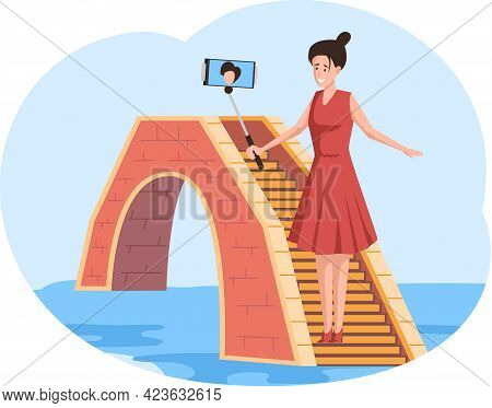 Female Traveler Stands On Small Stone Bridge Over River Taking Selfie On Blue Sky Background, Famous