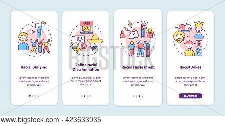 Racism In Social Situations Onboarding Mobile App Page Screen. Racial Bullying Walkthrough 4 Steps G