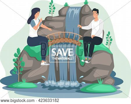 Save Waterfalls Concept, Rock And Falling Water, Tropical River And Waterfall. Beautiful Cascade In