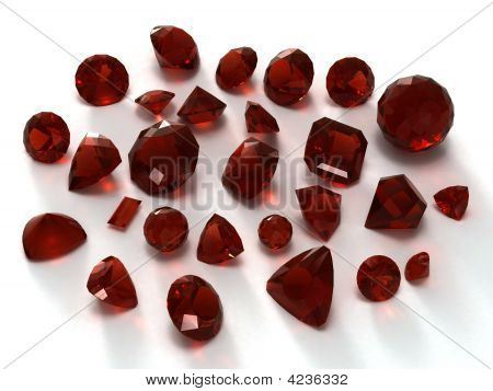 Garnet gems isolated on white background. Image for catalog gem sites and other... poster