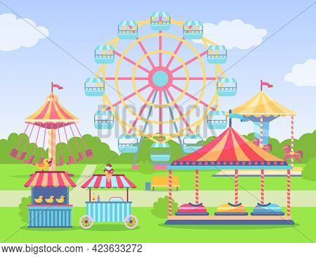 Empty Amusement And Entertainment Park Cartoon Illustration. Theme Park With Observation Wheel, Swin