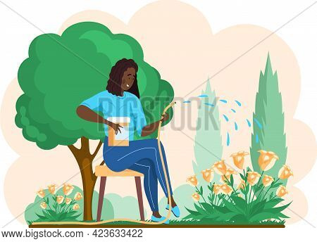 Girl Gardening Plant. Woman Planting Flowers, Pours Water From Hose, Agriculture Gardener Hobby And