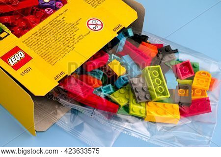 Tambov, Russian Federation - September 07, 2019 New Lego Blocks And Bricks Spill Out Of Lego Box On