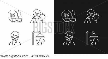 Uv Rays Exposure Risk Linear Icons Set For Dark And Light Mode. Sunglasses To Protect Eyes From Sunl
