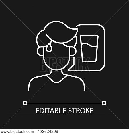 Thirst White Linear Icon For Dark Theme. Dehydration Symptom During Heat Wave. Sign Of Heatstroke. T