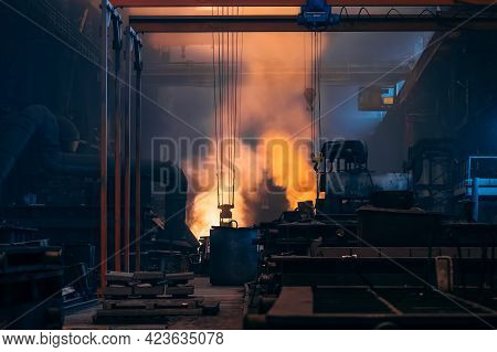 Metallurgical Production Factory, Foundry Workshop Interior, Bright Smoke From Blast Furnace, Heavy