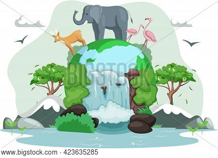 World Animal Day Banner. Earth Habitats, Plants And Wildlife. Biodiversity, Conservation And Environ