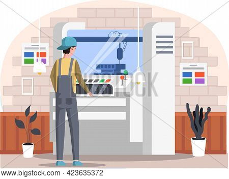 Male Character Near Professional Equipment For Print House. Worker Prints On Large Machine. Employee