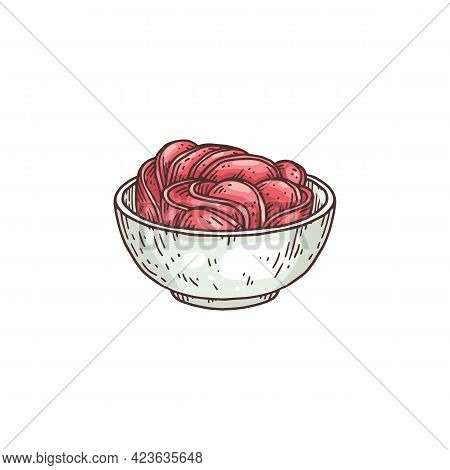 Sliced Pickled Ginger Root In Bowl Engraving Vector Illustration Isolated.