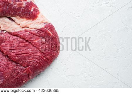 Raw Brisket Beef Cut. Black Angus Beef Set, On White Stone  Background, Top View Flat Lay,  With Cop