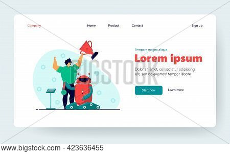 Child Winning Programming Competition With Electronic Robot. Flat Vector Illustration. Young Enginee