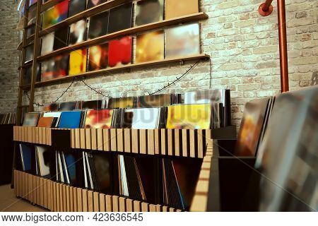Rack And Shelves With Different Vinyl Records In Store