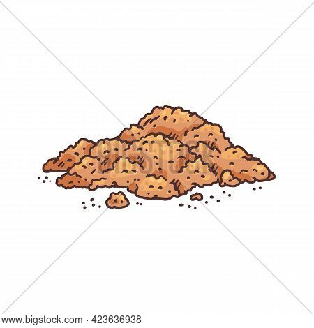 Heap Of Dried Grinded Vanilla, Hand Drawn Sketch Vector Illustration Isolated.