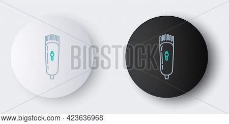 Line Electrical Hair Clipper Or Shaver Icon Isolated On Grey Background. Barbershop Symbol. Colorful