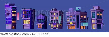 Business Center, City Buildings Or Financial District Or Downtown Constructions At Night. Infrastruc