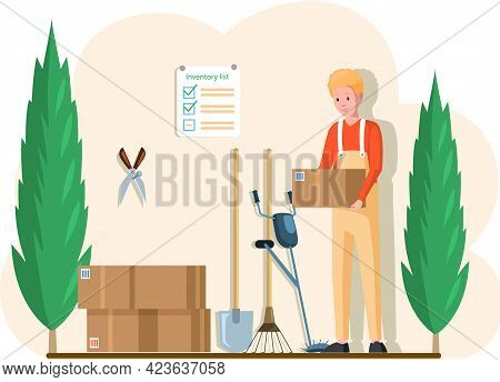 Gardener Character In Flat Design Standing In Garage With Tools. Young Adult Man In Yellow Overalls