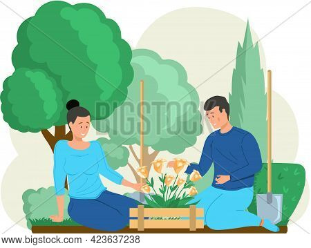 Man And Woman Admire Flowers And Trees In Park. Gardeners Sit And Rest After Work In Garden. People