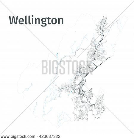 Wellington Map. Detailed Map Of Wellington City Administrative Area. Cityscape Panorama. Royalty Fre