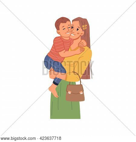 Female Personage Holding Kid On Hands, Isolated Mom With Toddler Son. Spending Time And Bonding, Boy