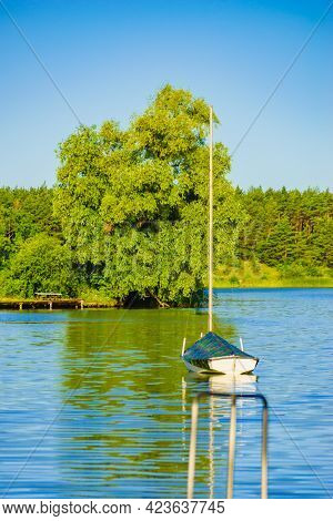 Boat Yacht On Lake During Summer. Tuchola National Park In Poland. Yachting, Holidays Concept.