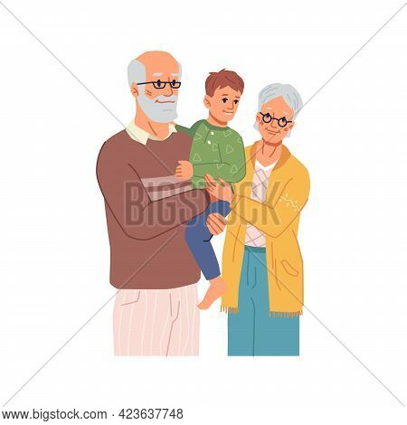 Happy Family, Grandparents Spending Time With Grandson. Grandmother And Grandfather Senior People Ca