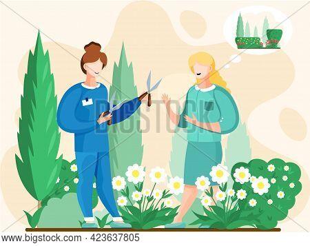 Two Women With Scissors Cut Flowers In Flower Bed For Bouquet, Gardeners Working In Garden, Growing